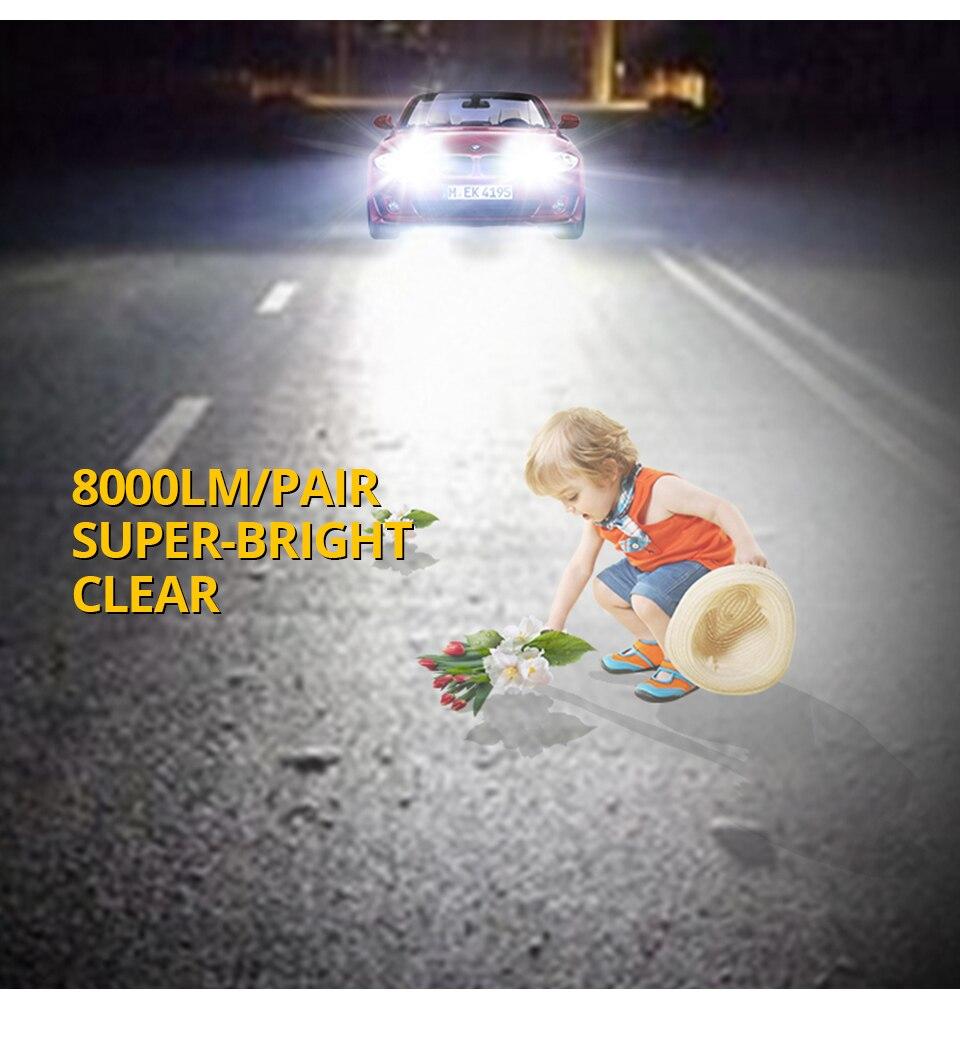 VooVoo 2PCS H4 H7 LED Car Light 72W 8000Lm 9005 9006 H11 4300K 3000K 8000K Car headlights 12V Car Near And Far Lamps Lighting (12)