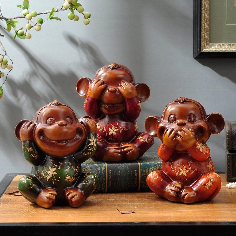 Europeo tre piccoli ornamenti scimmia carino mestieri della resina animale decorazione soggiorno Regalo di Nuovo Anno