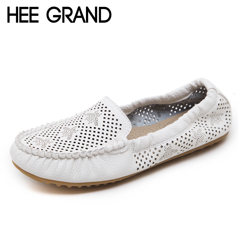 HEE GRAND Nest Hole Women Shoes For 2018 Summer Split Leather Comfort Flats Cut-out Shoes Woman For Mom Size 35-41 XWD6370 hee grand women s wedges heel highs for 2017 summer cut outs love heart bottom pumps wedding shoes woman size 35 39 xwd401