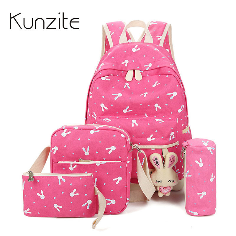 4Pcs/Sets New Women Backpacks Cartoon Rabbit Printing School Backpack Canvas Schoolbags For Teenage Cute Girls Bookbag Children