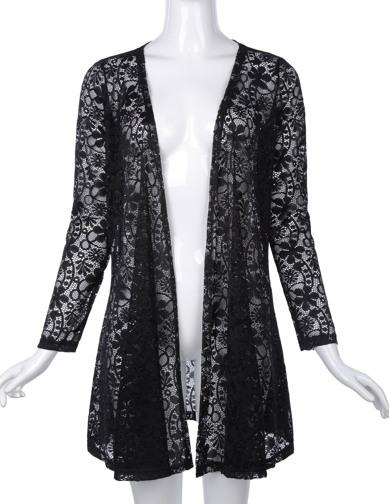Sexy lace coat Women clothing Long Sleeve Open Front See Through Lace queen mother elegant Coat office work Tops casaca mujer