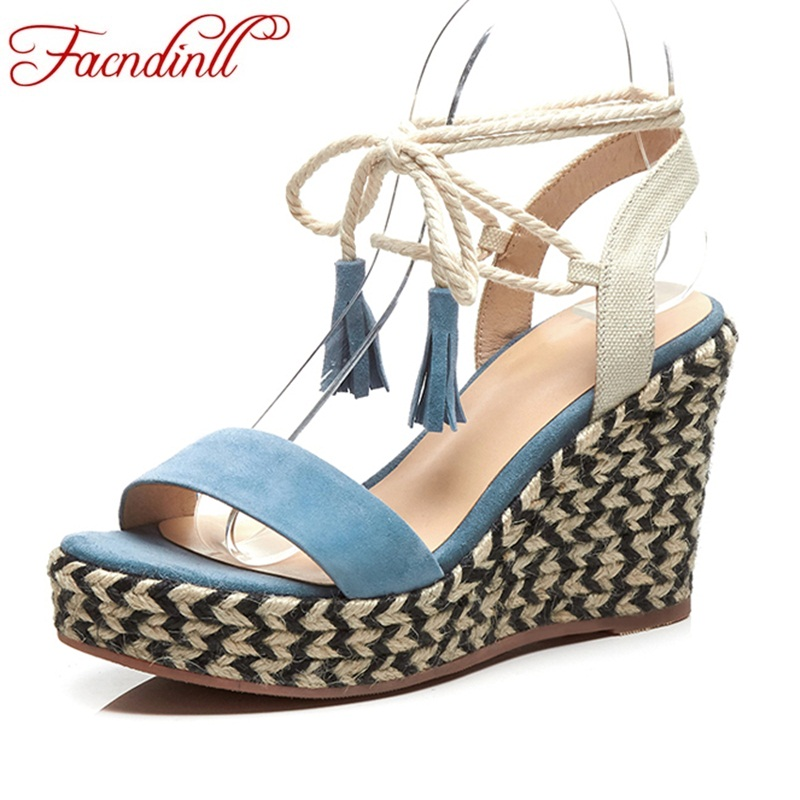 FACNDINLL summer fashion wedges high heels platform shoes woman gladiator sandals genuine leather women dress party casual shoes akexiya 2017 suede gladiator sandals platform wedges summer creepers casual buckle shoes woman sexy fashion high heels