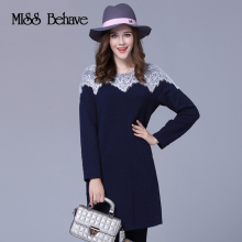 2018 Autumn Winter Lace Dress XL-5XL New Fashion Style Spandex Large Size V Neck Women Fat Long Sleeve Stitching Solid Knitted