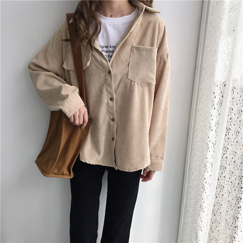 2019 Korean Long Sleeve Solid Jackets Outwear Spring Autumn Women Loose Jackets Casual Pocket Corduroy Jackets kz602 Islamabad