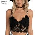 Shejoinsheenjoy 2016 new outono inverno moda camis sexy escavar profundo decote em v senhoras tops black lace curto mulheres clothing