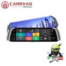 CARRVAS Android Car GPS Mirror 9.66 inch DVR Support Bluetooth Navigators Automobile with WiFi Stream Media 4G FHD