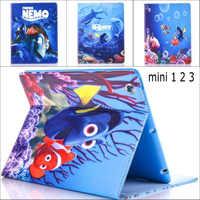 Moda Filme Bonito dos desenhos animados Procurando Nemo Palhaço Mini123 estande couro pu tampa da caixa suporte para iPad
