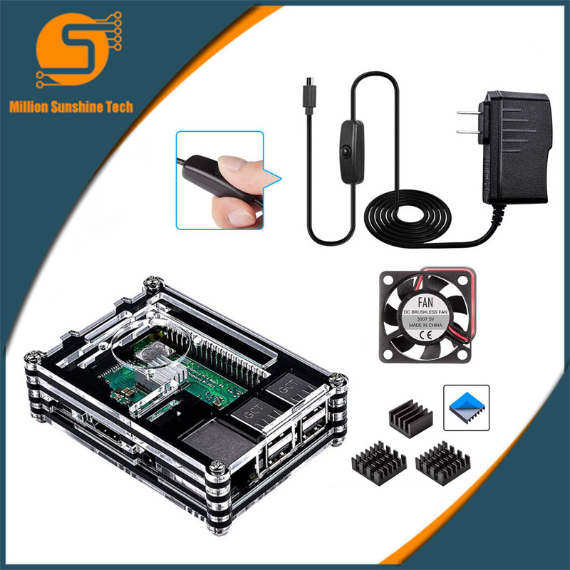 For Raspberry Pi 3 Case 9 Layer Acrylic Cover Shell Box Cooling Fan And Heat Sink For Raspberry Pi 3 Model B+ Plus