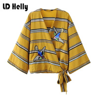 LD Helly Women Bow Tie Sparkling Sequined Birds Japanese Style Striped Kimono Shirt 2017 Cross V