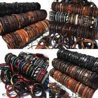 Venta al por mayor al azar 200 unids/lote Multi-color de la mezcla de estilos del brazalete de cuero de hombre, pulsera de los hombres joyería de las mujeres de MX15