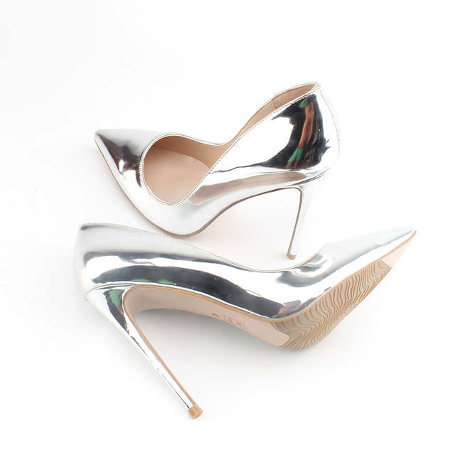 placeholder Brand Shoes 12CM High Heels Silver Wedding Shoes Women Pumps  Patent Leather Fashion Women Bridal Shoes f2ca5594389b