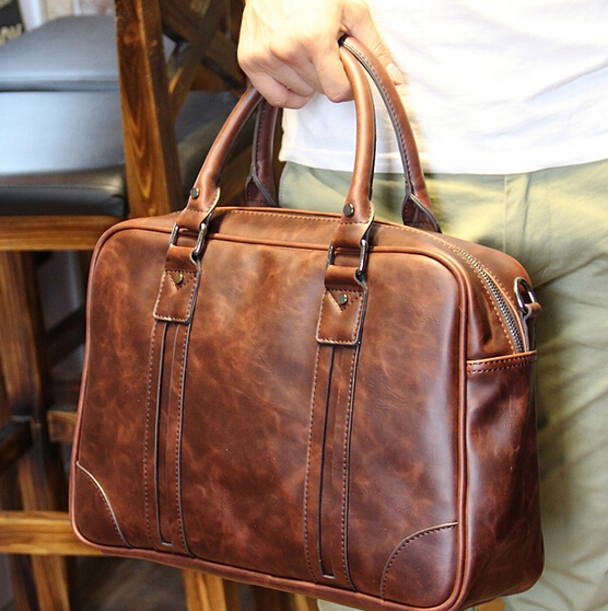 High quality men s travel bags shoulder messenger bag large leather hand bag notebook briefcase bagsbolsa