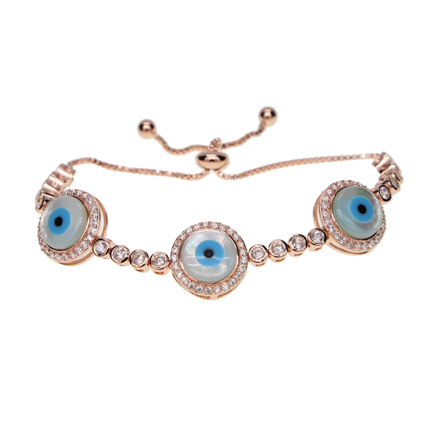 2017 Rose Gold Silver Color Mother Of Pearl Stone Cz Tennis Link Chain Turkish Evil Eye