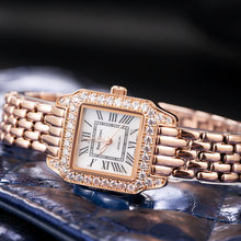 Luxury Jewelry Lady Women's Watch Fine Fashion Square Hours Mother-of-pearl Bracelet Rhinestone Girl's Gift Royal Crown Box(China)