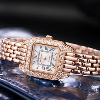 Luxury Jewelry Lady Women's Watch Fine Fashion Square Hours Mother of pearl Bracelet Rhinestone Girl's Gift Royal Crown Box