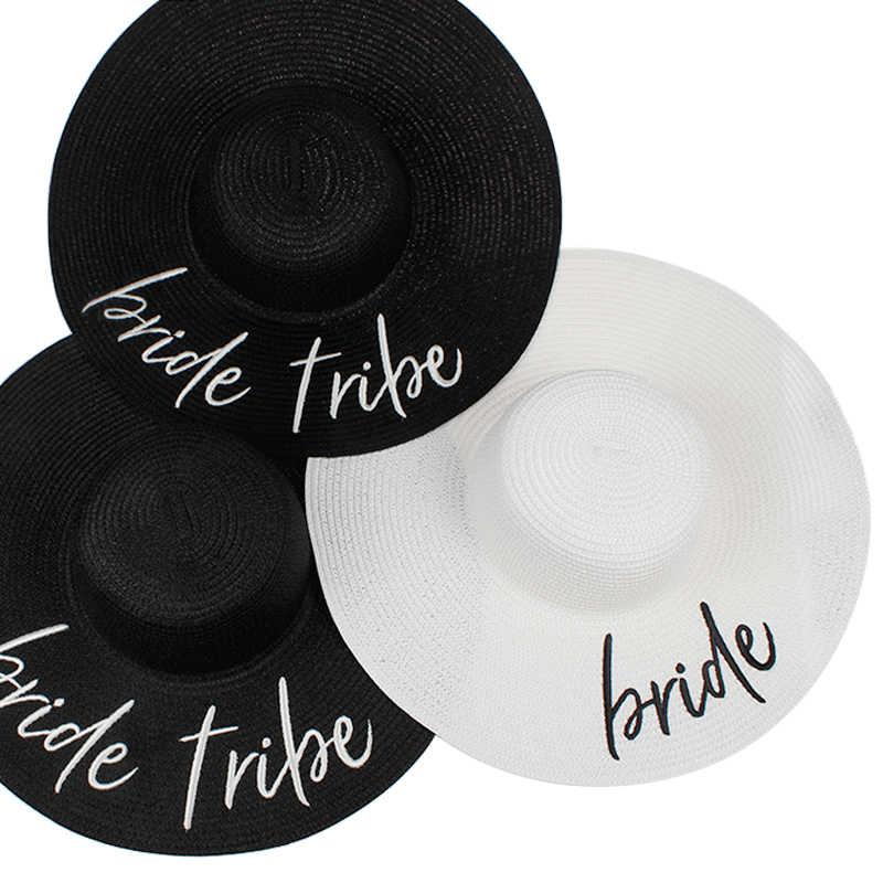 01e1da24be9 2018 new BRIDE bride tribe floppy Summer beach Sun Hats Honeymoon  bridesmaid maid of honor party