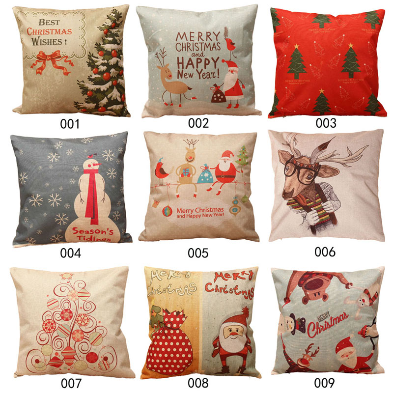 44*44cm Merry Chirstmas Full Printed Cotton Linen Pillow Case Cushion Invisible zipper pillowcase for Christmas Home Decorative