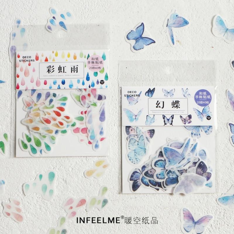 40 Pcs/Lot  Rainbow Rain Butterfly Flower Decoration Paper Sticker Decoration DIY Album Diary Scrapbooking Label Sticker