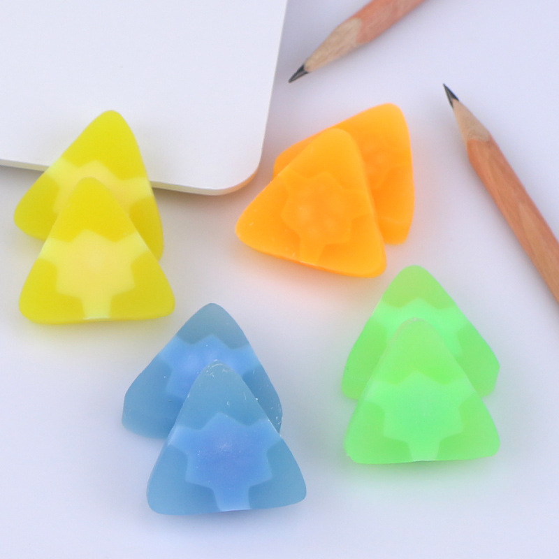 4 Pcs/lot Cute Jelly Color Triangle Rubber Eraser Kawaii Stationery School Supplies Papelaria Gift Toy For Kids Penil Eraser