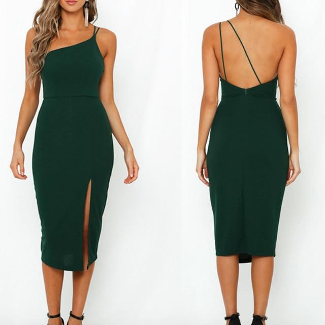 Evening Party  Dress vestidos Women Backless One Shoulder Split Bodycon  Strap Christmas Red  Dresses 2019 New Arrivarls 3