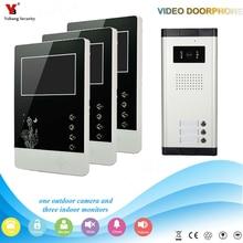 Yobang Security  4.3 inch Apartments of 3 Units Kit Video Door Phone Video Intercom Entrance Doorbell phone Night Vision camera