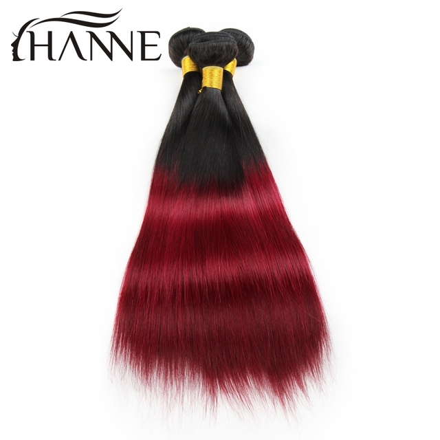 Us 117 26 Ombre Hair Straight 3pcs Malaysian1b 99j Dark Roots Burgundy End Red Human Hair Weave Bundles Hanne Colorful Hair Weft On Aliexpress Com