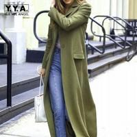 New Runway Women Super Long Woolen Coat High Street Boyfriend Suit Collar Wool Blends Overcoat Ladies Slim Fit Green Maxi Trench
