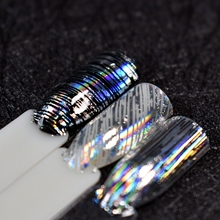 Holographic Silver Lines Nail Sticker Stripe Pattern Lady Transfer Foils DIY Art Tools GL683