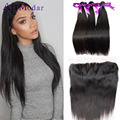Alimada Hair With Frontal Cambodian Virgin Hair With Frontal Human Hair Weave With Frontal Straight Hair With Closure