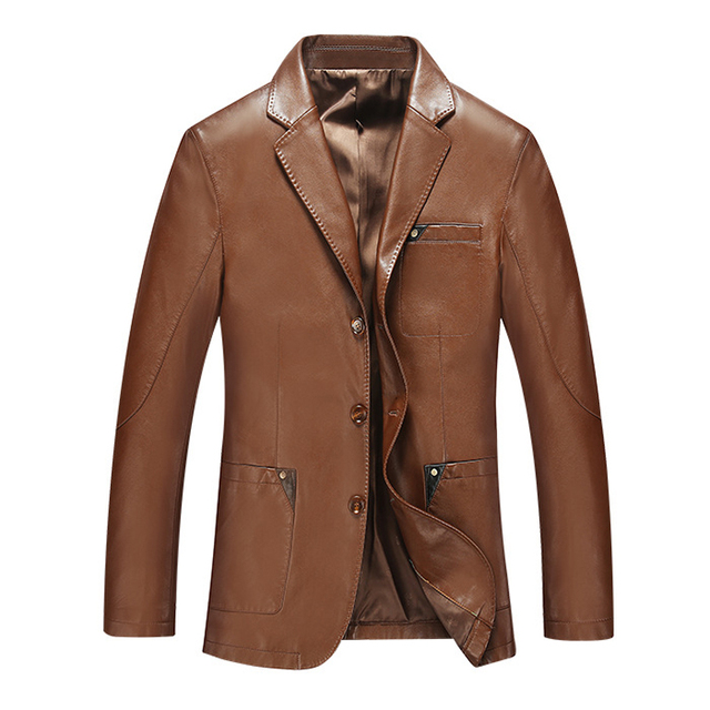 2016 Spring New Fashion Long Chaqueta De Cuero De Los Hombres	High Quality Business Style Brown Leather Jacket Men
