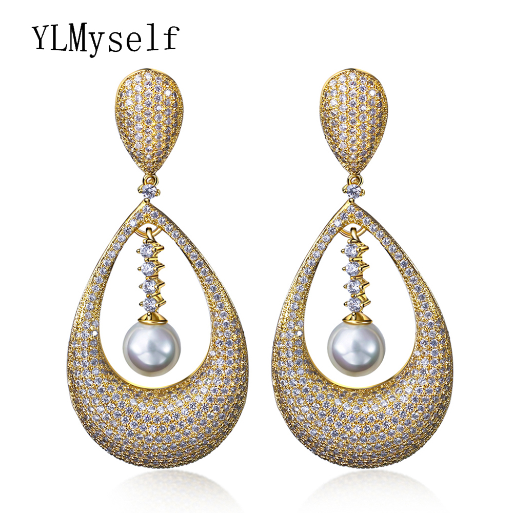 New Pearl Earring Gold/White Color diorissimo brincos grandes boucle d oreille Clear Cubic Zirconia jewelry dangling earrings baja front alloy arm set fit for 1 5 rc car hpi rovan baja upgrade parts