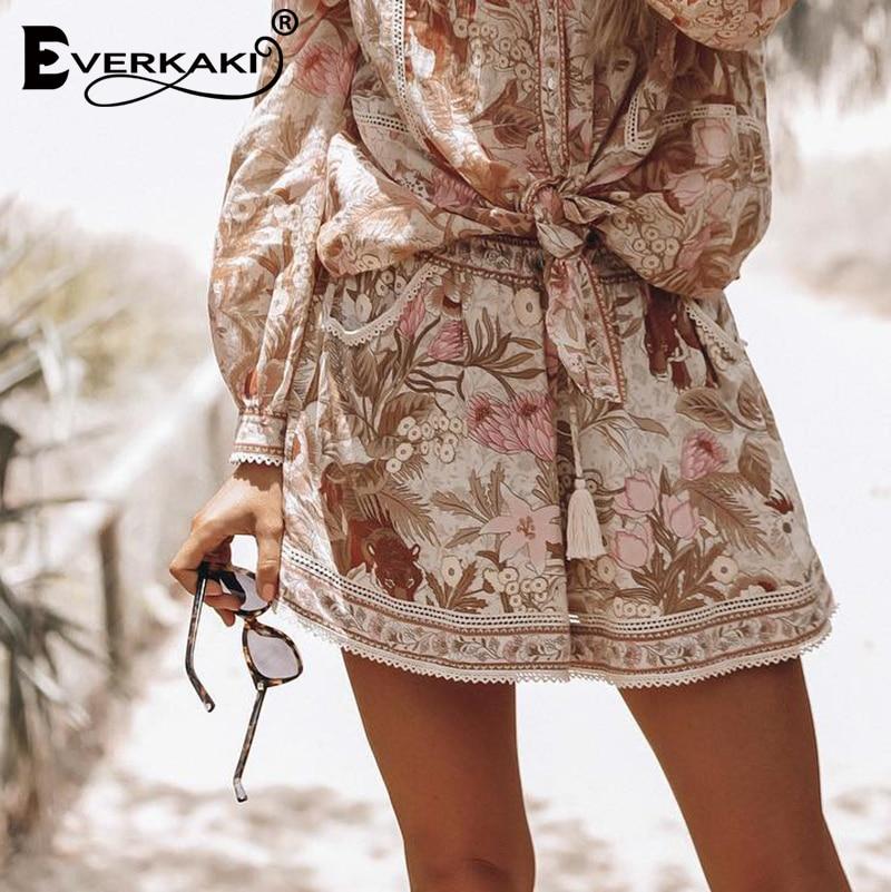 Everkaki Bohemian Floral Tiger Print Shorts Women Bottoms Elastic Adjustable Tassel Sashes Boho Shorts Female 2019 Summer Autumn