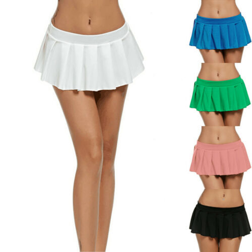 Women Ladies Micro Mini Skirts Bodycon Dance Club Skirt Metallic PU Leather Black Blue Green Pink