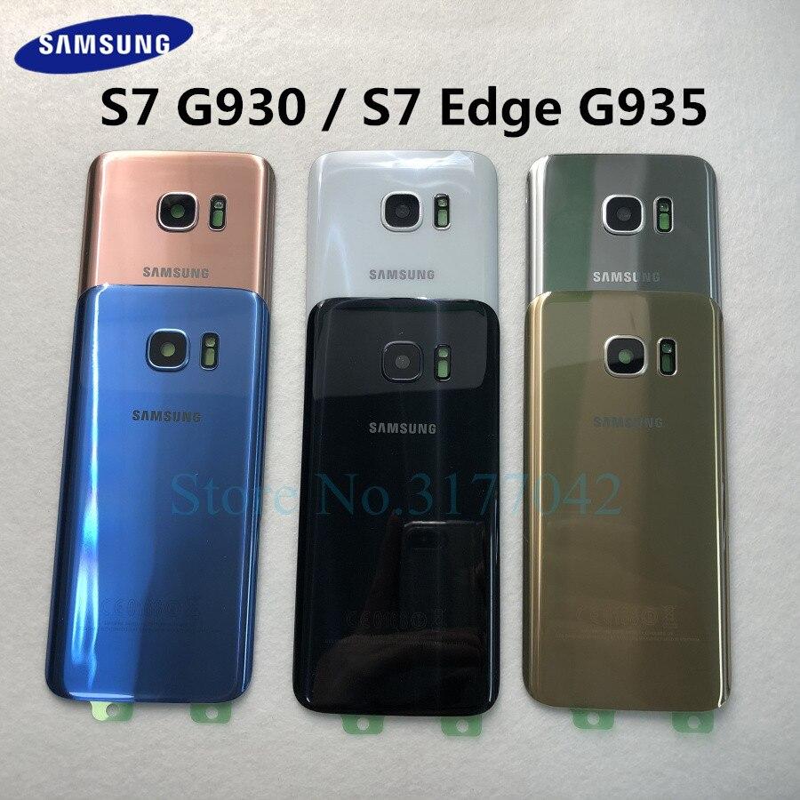 SAMSUNG – Boîtier arrière pour Galaxy S7 G930F/S7 EDGE G935F, coque de couvercle de batterie, transparent, verre, cristal
