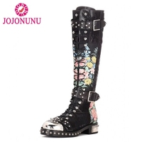 JOJONUNU Size 34 43 Fashion Brand Women Real Leather Knee High Boots Women Rivets Cross Strap Zip Shoes Female Gladiator Botas