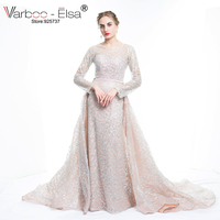 VARBOO ELSA 2017 New Arrive Glitter Sequins Evening Dress Long Detachable Train Party Gown Long Sleeve