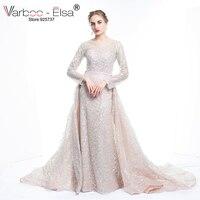 VARBOO ELSA 2017 New Arrive Glitter Sequins Evening Dress Long Detachable Train Party Gown Long Sleeve
