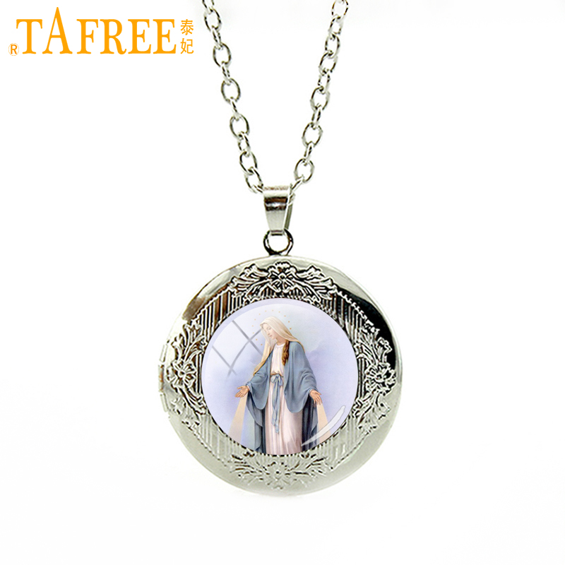 TAFREE New hot sale fashion silver plated locket  Necklace Virgin Mary Religious Catholic Glass Bezel Pendant jewelry gift VM35