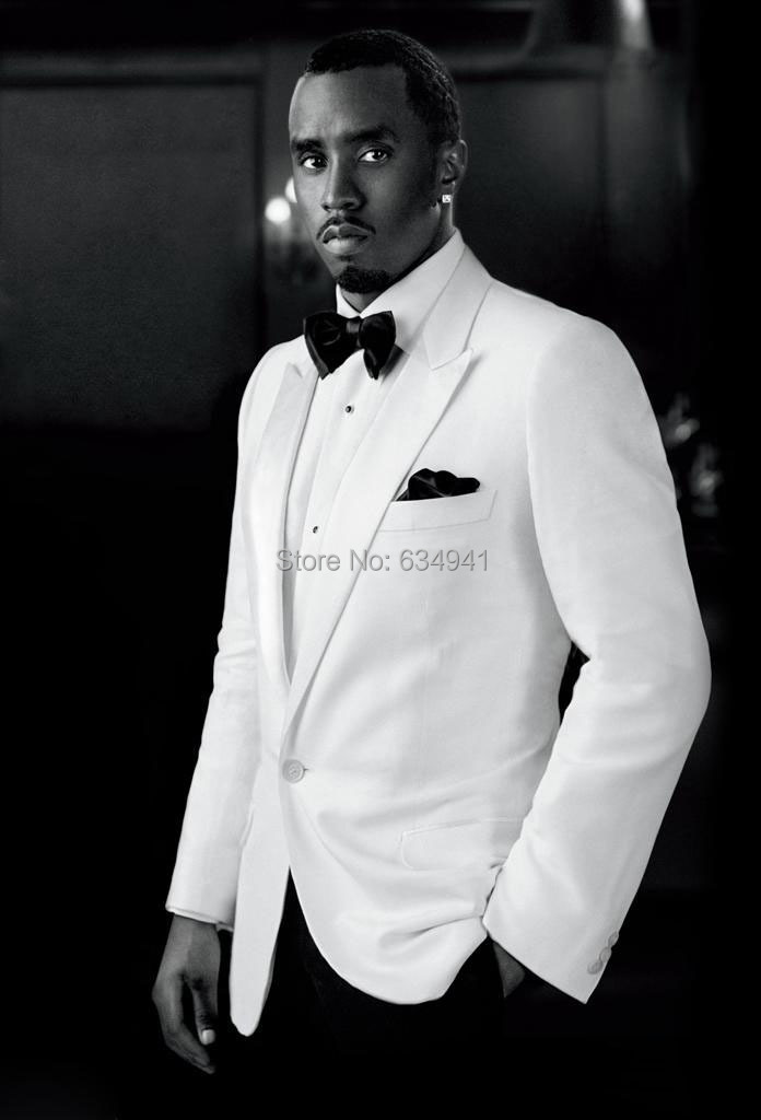2015 Top selling CUSTOM MADE GROOM TUXEDO,WHITE JACKET BLACK PANTS ...