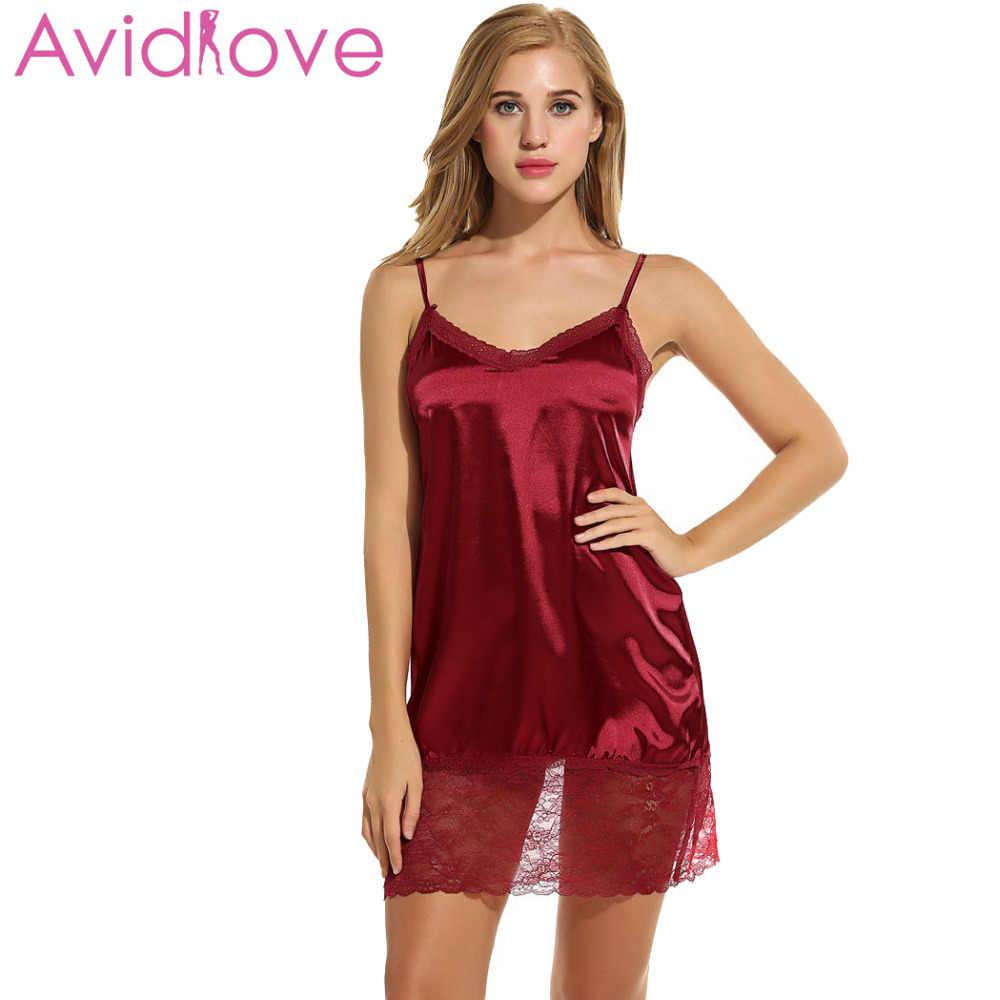 eb34e58a309d ... Avidlove Ladies Sexy Satin Night Dress Sleeveless Nighties V-neck  Nightgown Plus Size Nightdress Lace ...