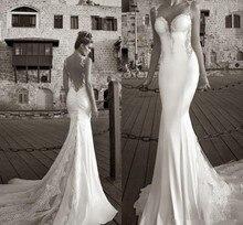 Best Selling 2015 Galia Lahav Summer White Lace Bare Back Wedding Dress Bridal Gown Mermaid Sheer Straps