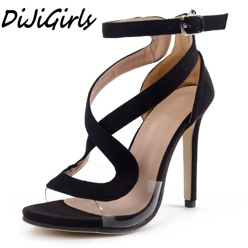 DiJiGirls new women high heels sandals shoes woman peep toe Sexy women's Cross Strap Buckle wedding party star stiletto shoes floral lace panel tunic t shirt
