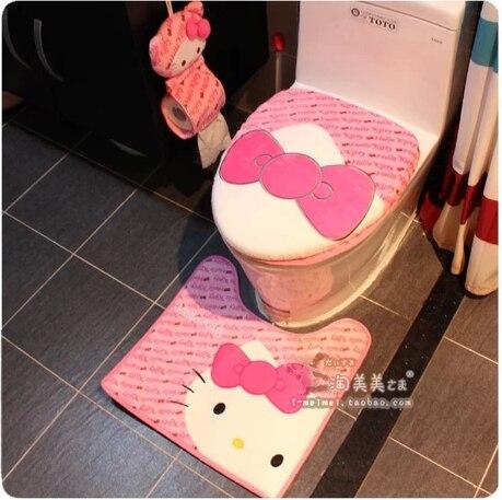 3Pcs/Set New Hello kitty Cartoon Plush Letter Potty Bathroom Toilet - hello kitty potty