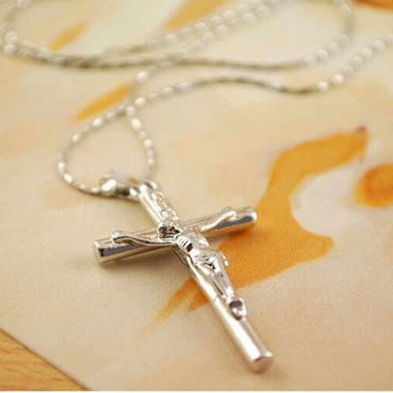 العصرية خمر بيع الرجال والنساء الكلاسيكية الفضة يسوع الصليب المعلقات القلائد اكسسوارات صديقها صديقة هدية CND235