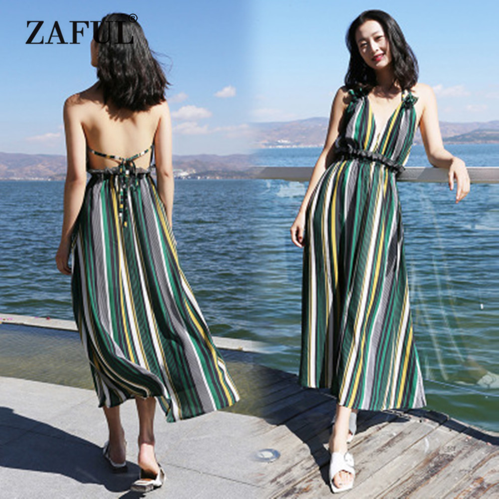 ZAFUL 2018 New Women Cover Ups Striped Ruffled Backless Halter Dress High Waist Beach Sexy Ankle-Length Green Stripped Cover Up tototoys 281 marbulousjunior 16