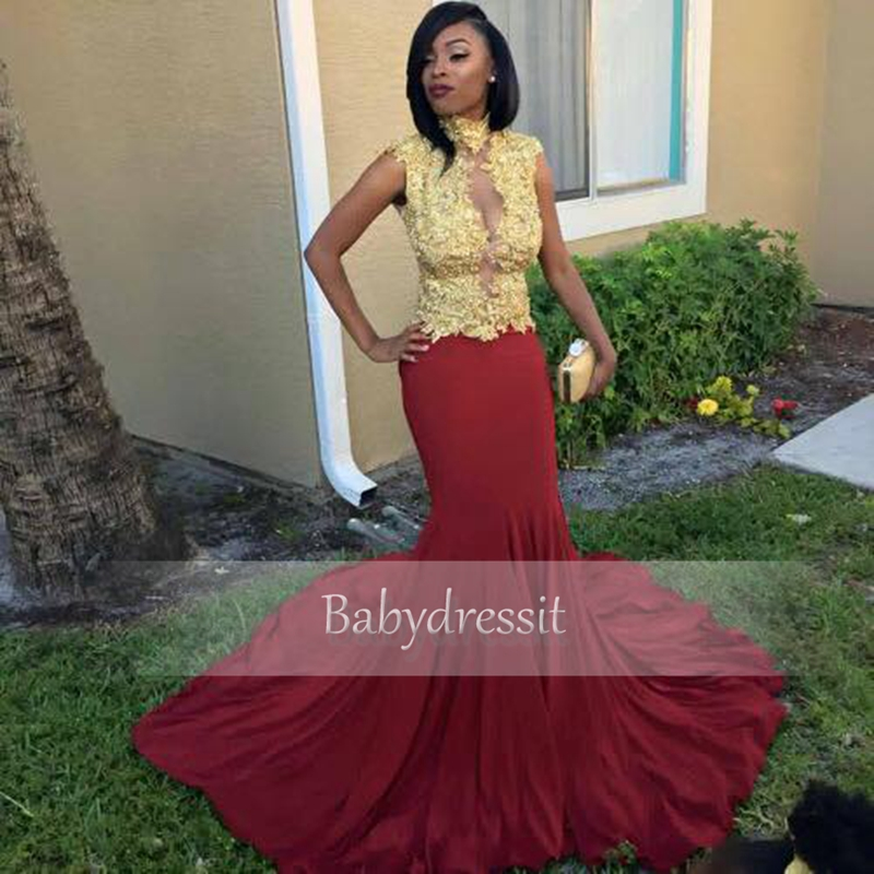 Cap Sleeve Red Prom Dresses Sheer High Neck Gold Lace Top Stretch ...