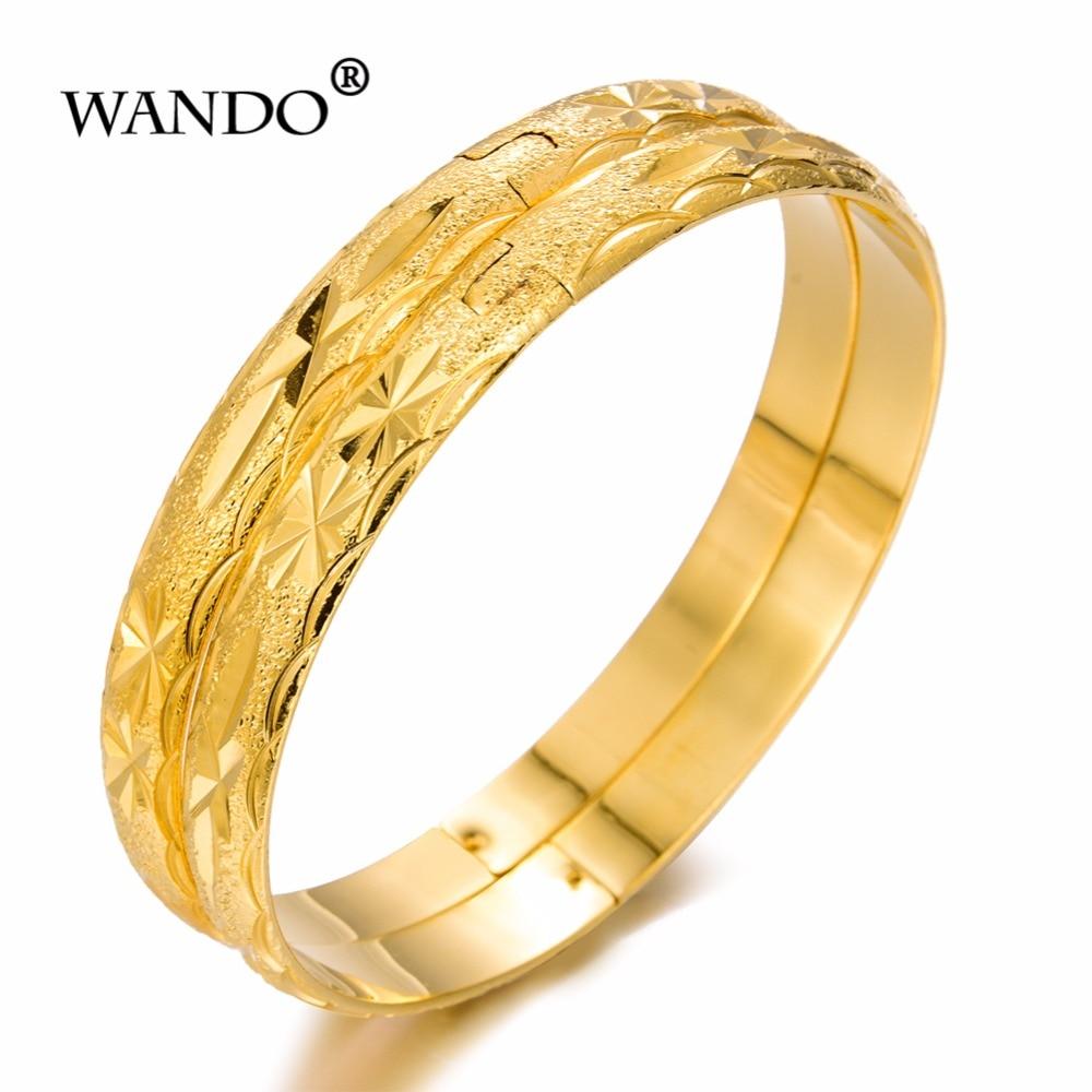 Us 4 5 55 Off Wando 2pcs Lot Dubai Gold Bangles Bracelet Women Jewelry Men Bracelets African European S Bride Italy Gift Wb100 In