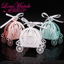 Caja de recuerdo de caramelo de boda de carruaje de calabaza de corte láser de 2020 50 uds, caja de papel para dulces de color perla, regalo de cumpleaños para baby shower