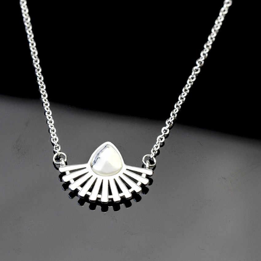 V Gewinnen Gold Silber Farbe Edelstahl Kette Böhmische Wassertropfen Halsketten Anhänger Weißer Stein Halskette Für Frauen