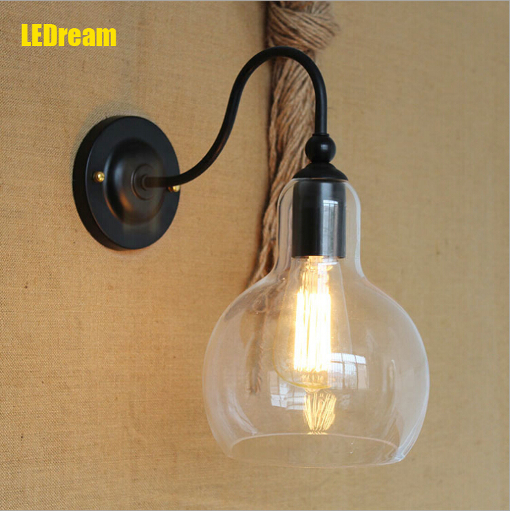 Antique Wrought Vintage Brief Retro Style Wall Light Sconce Edison Type Bulb Lamp 220V American industry wall lamps with glass 2013 antique outdoor lighting for wall decerative wall light with edison light bulb vintage wall lamps